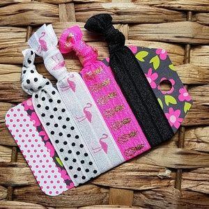 Accessories - Set of 4 Hair Ties - Black Pink Flamingo Pineapple